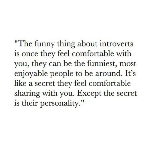 "Comfortable, Funny, and Once: ""The funny thing about introverts  is once they feel comfortable with  you, they can be the funniest, most  enjoyable people to be around. It's  like a secret they feel comfortable  sharing with you. Except the secret  is their personality."""