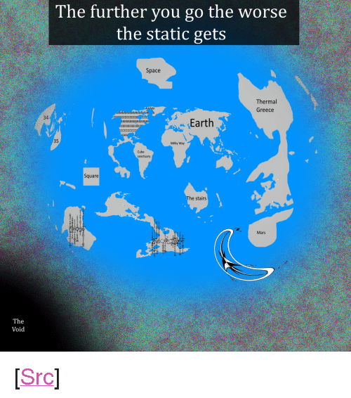 "Reddit, Earth, and Greece: The further you go the worse  the static gets  Space  Thermal  Greece  34  Earth  35  Milky Way  Cube  sanctua  Square  he stairs  an  Mars  The  Void <p>[<a href=""https://www.reddit.com/r/surrealmemes/comments/7y6n73/map_of_the_world/"">Src</a>]</p>"
