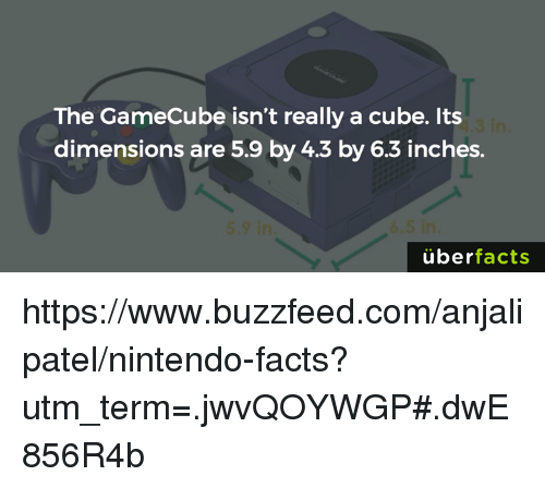 gamecubes: The GameCube isn't really a cube. Its  dimensions are 5.9 by 4.3 by 6.3 inches.  uber  facts https://www.buzzfeed.com/anjalipatel/nintendo-facts?utm_term=.jwvQOYWGP#.dwE856R4b