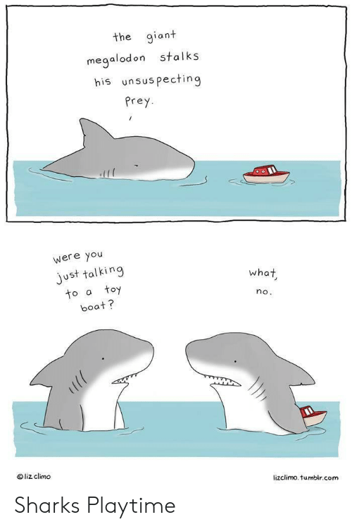 liz: the giant  stalks  megalodon  his unsuspecting  Prey  were you  just talking  toy  what  to a  no.  boat?  liz climo  lizclimo. tumblr.com Sharks Playtime