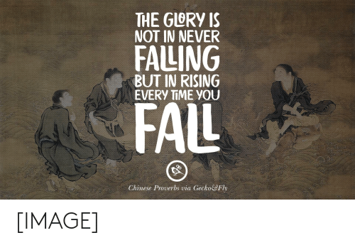 Chinese, Image, and Time: THE GLORY IS  NAT IN NEVER  FALING  BUT IN RISING  EVERY TIME YOU  FAL  Chinese Proverbs via Gecko&Fly [IMAGE]