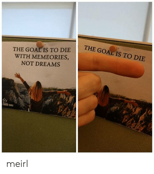 Goal, Dreams, and MeIRL: THE GOAL IS TO DIE  THE GOAL IS TO DIE  WITH MEMEORIES,  NOT DREAMS  TOTORES meirl