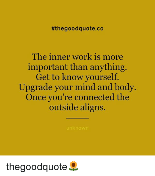 Know Yourself, Memes, and Work:  #the good quote.co  The inner work is more  important than anything.  Get to know yourself.  Upgrade your mind and body.  Once you're connected the  outside aligns.  unknown thegoodquote🌻
