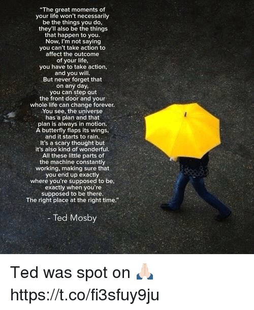 "Life, Memes, and Ted: ""The great moments of  your life won't necessarily  be the things you do,  they'll also be the things  that happen to you.  Now, I'm not saying  you can't take action to  affect the outcome  of your life,  you have to take action,  and you will.  But never forget that  on any day,  you can step out  the front door and your  whole life can change forever.  You see, the universe  has a plan and that  plan is always in motion.  A butterfly flaps its wings,  and it starts to rain.  It's a scary thought but  it's also kind of wonderful.  All these little parts of  the machine constantly  working, making sure that  you end up exactly  where you're supposed to be  exactly when you're  supposed to be there.  The right place at the right time.""  - Ted Mosby  OS Ted was spot on 🙏🏻 https://t.co/fi3sfuy9ju"