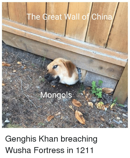 great wall: The Great Wall of China Genghis Khan breaching Wusha Fortress in 1211