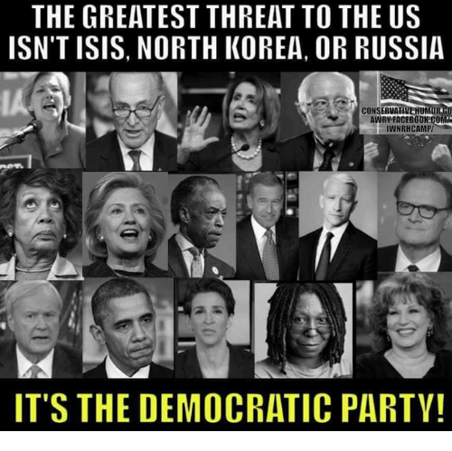 Facebook, Isis, and Memes: THE GREATEST THREAT TO THE US  ISN'T ISIS, NORTH KOREA, OR RUSSIA  IA  CONSERVA  UM  AWRY FACEBOOK CO  IWNRHCAMP/  ITS THE DEMOCRATIC PARTY!