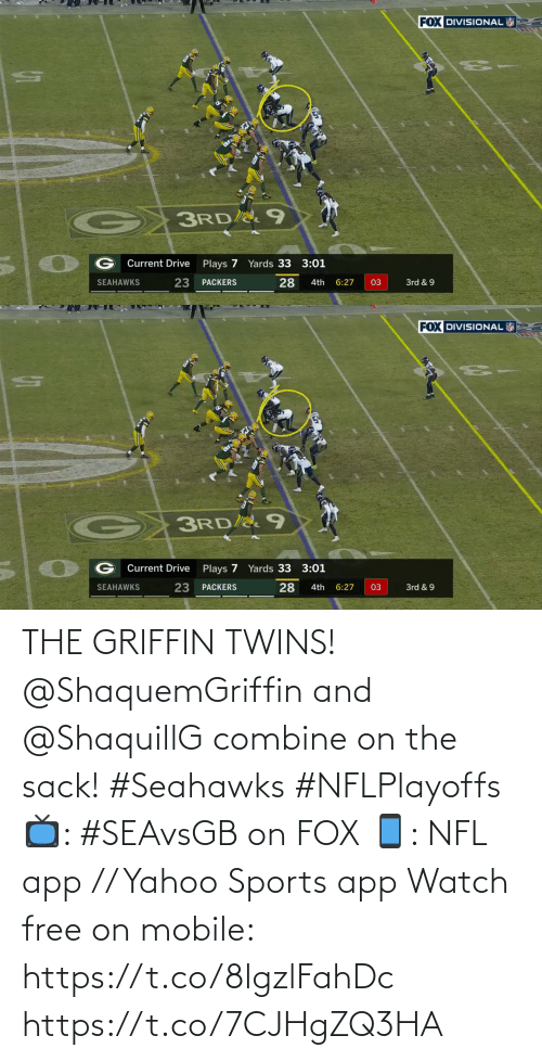 Free: THE GRIFFIN TWINS!  @ShaquemGriffin and @ShaquillG combine on the sack! #Seahawks #NFLPlayoffs  📺: #SEAvsGB on FOX 📱: NFL app // Yahoo Sports app Watch free on mobile: https://t.co/8lgzlFahDc https://t.co/7CJHgZQ3HA
