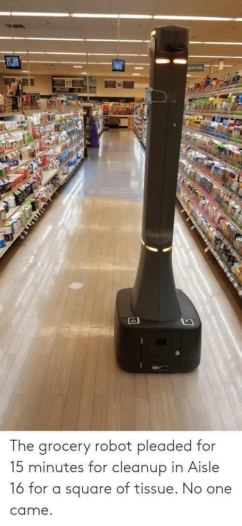 Grocery: The grocery robot pleaded for 15 minutes for cleanup in Aisle 16 for a square of tissue. No one came.
