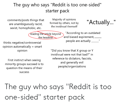 "Organizations: The guy who says ""Reddit is too one-sided""  starter pack  Majority of opinions  formed by others, not by  comments/posts things that  are unambiguously racist,  sexist, homophobic, etc.  ""Actually.""  the invidivual themself  reading the article beyond ""According to an outdated  and biased expirement,.  the headline  people are actually.  thinks negative/controversial  opinion automatically = smart  opinion  %3D  ""Did you know that X group or Y  invidivual were not that bad?"" in  reference to dictators, fascists,  and generally evil  people/organizations  First instinct when seeing  minority groups succeed is to  question the means of their  success The guy who says ""Reddit is too one-sided"" starter pack"
