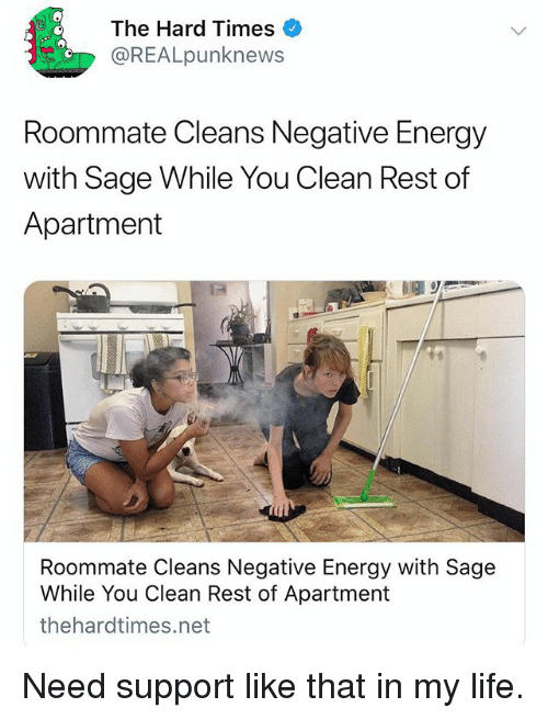 Energy, Funny, and Life: The Hard Times  @REALpunknews  Roommate Cleans Negative Energy  with Sage While You Clean Rest of  Apartment  Roommate Cleans Negative Energy with Sage  While You Clean Rest of Apartment  thehardtimes.net Need support like that in my life.