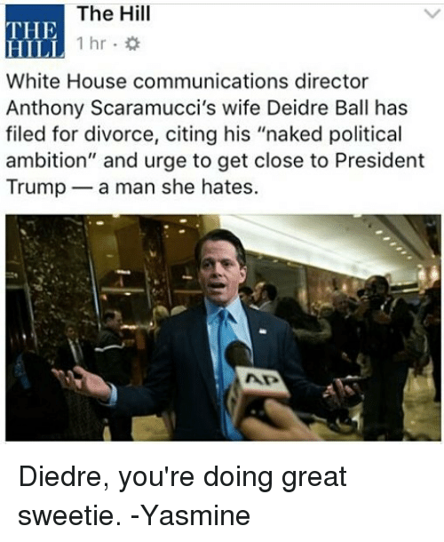 """Memes, White House, and House: The Hill  THE  HILI  White House communications director  Anthony Scaramucci's wife Deidre Ball has  filed for divorce, citing his """"naked political  ambition"""" and urge to get close to President  Trump a man she hates.  1hr. Diedre, you're doing great sweetie. -Yasmine"""