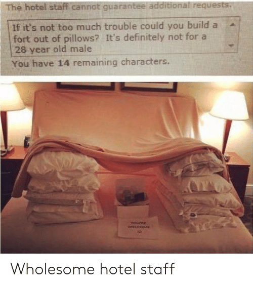 Definitely, Too Much, and Hotel: The hotel staff cannot quarantee additional requests.  If it's not too much trouble could you build a  fort out of pillows? It's definitely not for a  28 year old male  You have 14 remaining characters.  YOPRE  WELCOME Wholesome hotel staff