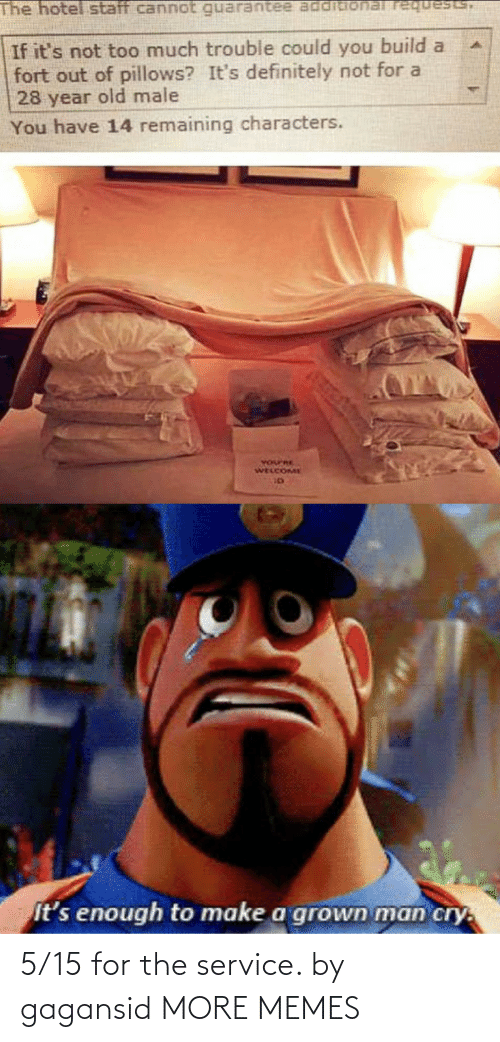build a: The hotel staff cannot requests,  If it's not too much trouble could you build a  fort out of pillows? It's definitely not for a  28 year old male  You have 14 remaining characters.  YOurRE  WELCOME  It's enough to make a grown man cry. 5/15 for the service. by gagansid MORE MEMES