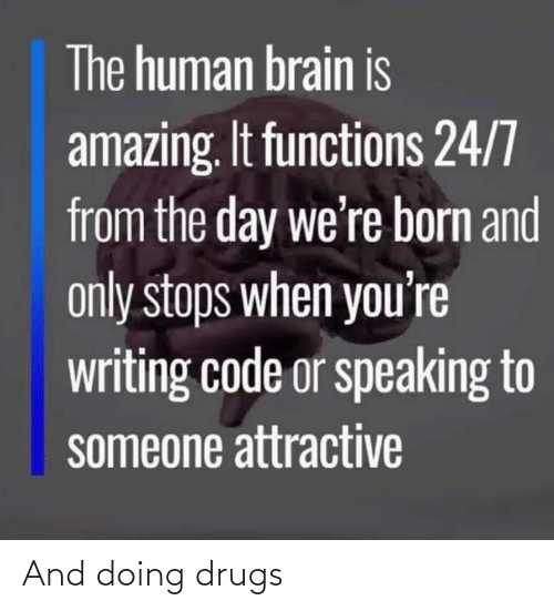 When Youre: The human brain is  amazing. It functions 24/7  from the day we're born and  only stops when you're  writing code or speaking to  someone attractive And doing drugs