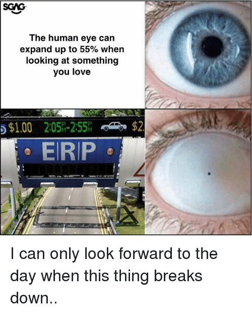 Love, Memes, and 🤖: The human eye can  expand up to 55% when  looking at something  you love  ら$1.00  2:05%-255  $2  EIRIP I can only look forward to the day when this thing breaks down..