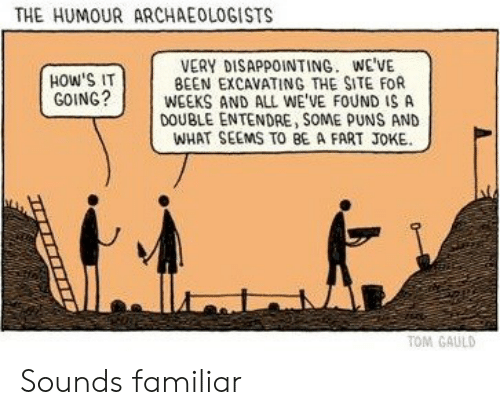 Hows It Going: THE HUMOUR ARCHAEOLOGISTS  VERY DISAPPOINTING. WE'VE  BEEN EXCAVATING THE SITE FOR  WEEKS AND ALL WE'VE FOUND IS A  DOUBLE ENTENDRE, SOME PUNS AND  WHAT SEEMS TO BE A FART JOKE  HOW'S IT  GOING?  TOM GAULD Sounds familiar