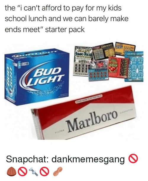 """Memes, School, and Snapchat: the """"i can't afford to pay for my kids  school lunch and we can barely make  ends meet"""" starter pack  BUD  Marlboro Snapchat: dankmemesgang 🚫🌰🚫🔩🚫 🥜"""