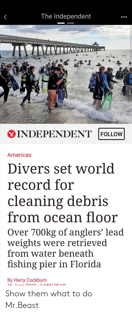 Florida, Ocean, and Record: The Independent  INDEPENDENT |FOLLOW  Americas  Divers set world  record for  cleaning debris  from ocean floor  Over 700kg of anglers' lead  weights were retrieved  from water beneath  fishing pier in Florida  By Harry Cockburn  2010. 1 UN DEAD  16 Show them what to do Mr.Beast