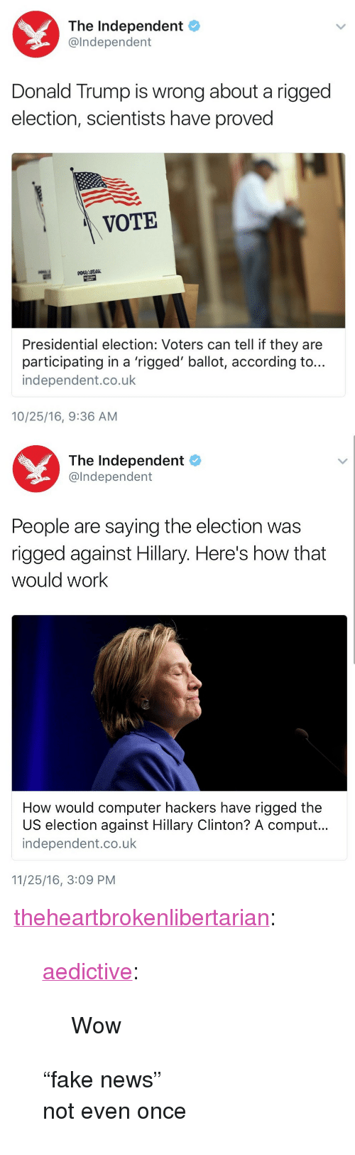 "Donald Trump, Hillary Clinton, and News: The Independent  @lndependent  Donald Trump is wrong about a rigged  election, scientists have proved  VOTE  Presidential election: Voters can tell if they are  participating in a 'rigged' ballot, according to...  independent.co.uk  10/25/16, 9:36 AM   The Independent  @lndependent  People are saying the election was  rigged against Hillary. Here's how that  would work  How would computer hackers have rigged the  US election against Hillary Clinton? A comput.  independent.co.uk  11/25/16, 3:09 PM <p><a href=""http://theheartbrokenlibertarian.tumblr.com/post/154519325596/aedictive-wow"" class=""tumblr_blog"">theheartbrokenlibertarian</a>:</p>  <blockquote><p><a href=""http://aedictive.tumblr.com/post/153657254861/wow"" class=""tumblr_blog"">aedictive</a>:</p><blockquote><p>Wow<br/></p></blockquote>  <p>""fake news""</p><p>not even once</p></blockquote>"
