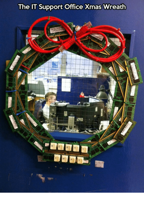 Office, Xmas, and It Support: The IT Support Office Xmas Wreath