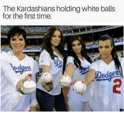 Kardashians, Time, and White: The Kardashians holding white balls  for the first time.  De