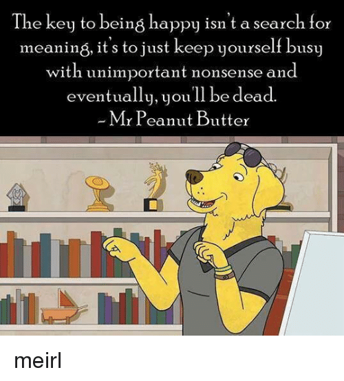 Happy, Meaning, and Search: The key to being happy isn't a search for  meaning, it's to just keep yourself busy  with unimportant nonsense and  eventually, youll be dead.  Mr Peanut Butter meirl