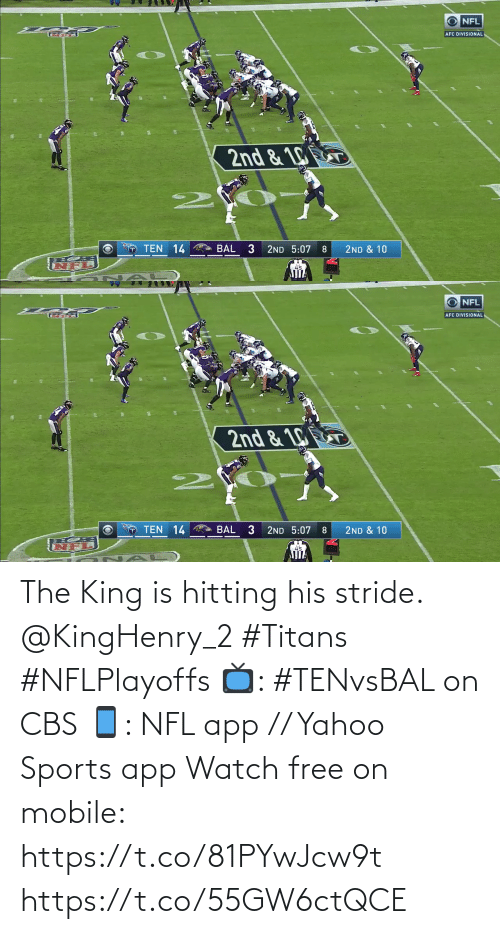 Free: The King is hitting his stride. @KingHenry_2 #Titans #NFLPlayoffs  📺: #TENvsBAL on CBS 📱: NFL app // Yahoo Sports app Watch free on mobile: https://t.co/81PYwJcw9t https://t.co/55GW6ctQCE