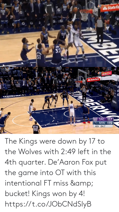 left: The Kings were down by 17 to the Wolves with 2:49 left in the 4th quarter.   De'Aaron Fox put the game into OT with this intentional FT miss & bucket!   Kings won by 4!    https://t.co/JObCNdSlyB