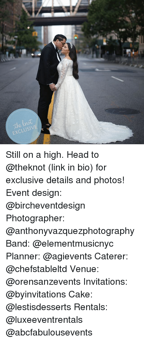 Head, Cake, and Link: the knot  EXCLUSIVE Still on a high. Head to @theknot (link in bio) for exclusive details and photos! Event design: @bircheventdesign Photographer: @anthonyvazquezphotography Band: @elementmusicnyc Planner: @agievents Caterer: @chefstableltd Venue: @orensanzevents Invitations: @byinvitations Cake: @lestisdesserts Rentals: @luxeeventrentals @abcfabulousevents