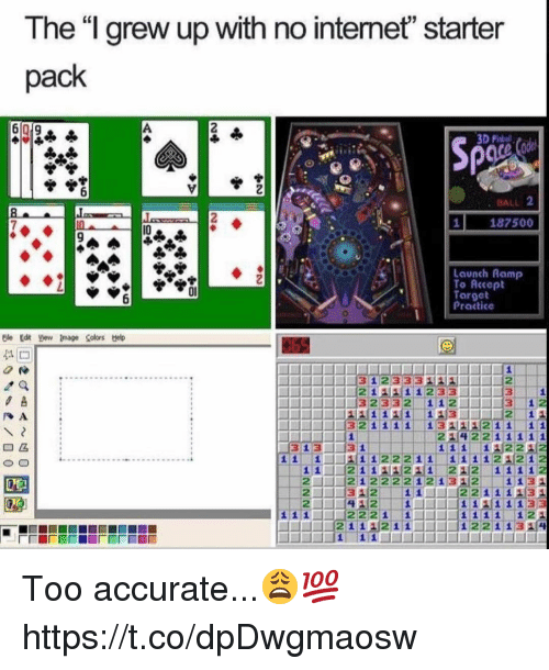 """Target, Starter Pack, and Ball: The """"l grew up with no intemet"""" starter  pack  Sp  . BALL 2  187500  I0  Launch Ramp  To Accopt  Target  Practice  0l  J3 1 233 349-111-2  ,  1 2  214221111  1 2232  221 222212 1312  2 1312 111-22 111 134  1131 Too accurate...😩💯 https://t.co/dpDwgmaosw"""