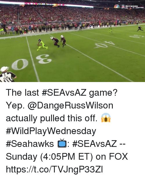 Memes, Game, and Seahawks: The last #SEAvsAZ game?   Yep. @DangeRussWilson actually pulled this off. 😱 #WildPlayWednesday #Seahawks  📺: #SEAvsAZ -- Sunday (4:05PM ET) on FOX https://t.co/TVJngP33Zl