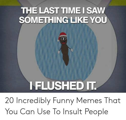 Funny, Memes, and Saw: THE LAST TIME I SAW  SOMETHING LIKE YOU  IFLUSHED IT 20 Incredibly Funny Memes That You Can Use To Insult People