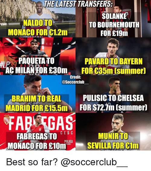 Memes, Real Madrid, and Summer: THE LATEST TRANSFERS:  SOLANKE  TO BOURNEMOUTH  MONACO FORC1.2m FORE  PAQUETA TOPAVARD TO BAYERN  AC MILANFOR £30mFOR C35m [summer)  Credit:  @Soccerclub  BRAHIM TO REAL  MADRID FOR  PULISICTOCHELSEA  FOR $72.in tsummern  FAR GAS  CESC  FABREGASTO , E  MONACO FOR £10m  MUNIRTO  SEVILLAFORCIm  MILIEU  AGNOL Best so far? @soccerclub__