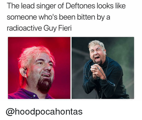 Guy Fieri, Dank Memes, and Been: The lead singer of Deftones looks like  someone who's been bitten by a  radioactive Guy Fieri @hoodpocahontas