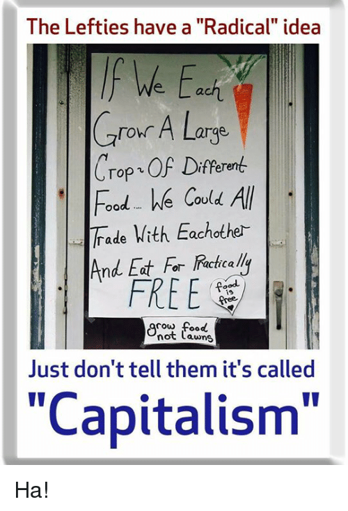 "Food, Memes, and Capitalism: The Lefties have a ""Radical"" idea  f We Eci  Cror A Large  Crop OF Diferen  oodWe COu  ade With Eachother  And Eat For  FREE  ie  cow food  not Lawns  Just don't tell them it's called  ""Capitalism"" Ha!"
