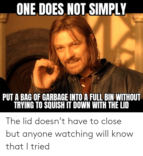 close: The lid doesn't have to close but anyone watching will know that I tried