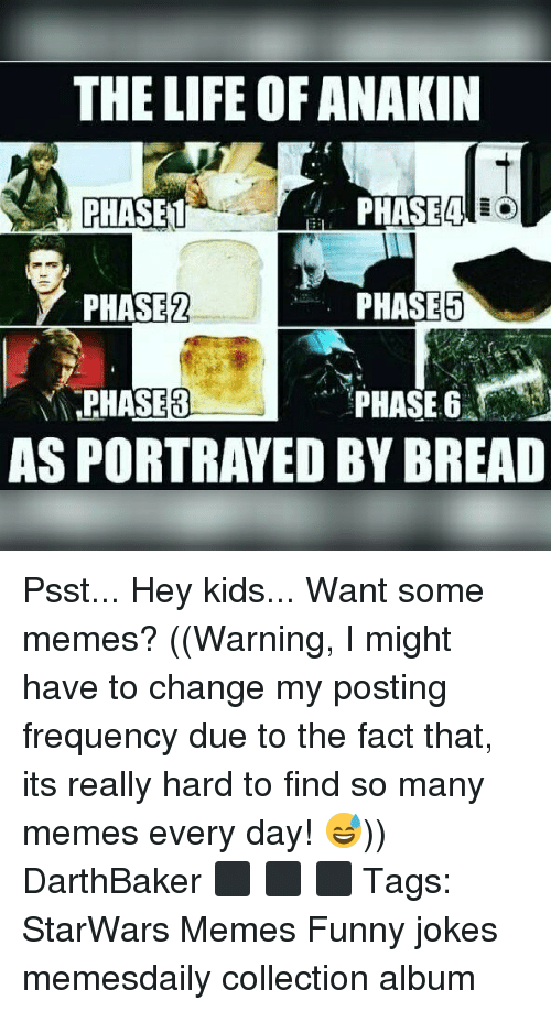Funny, Funny Jokes, and Life: THE LIFE OF ANAKIN  PHASET  PHASE2  PHASE8  Phi  PHASE5  PHASE 6  AS PORTRAYED BY BREAD Psst... Hey kids... Want some memes? ((Warning, I might have to change my posting frequency due to the fact that, its really hard to find so many memes every day! 😅)) DarthBaker ⬛ ⬛ ⬛ Tags: StarWars Memes Funny jokes memesdaily collection album