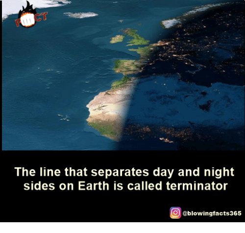 Memes, Earth, and Terminator: The line that separates day and night  sides on Earth is called terminator  O @blowingfacts365