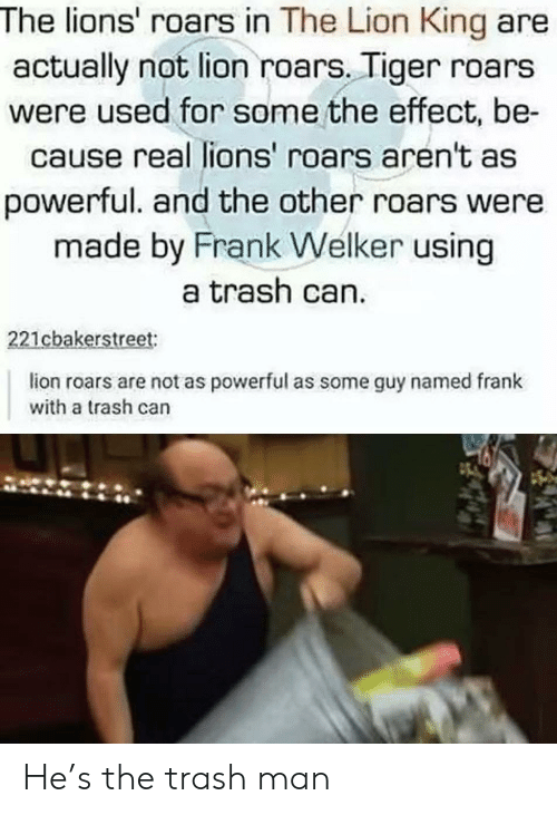 Lion King: The lions' roars in The Lion King are  actually not lion roars. Tiger roars  were used for some the effect, be-  cause real lions' roars aren't as  powerful. and the other roars were  made by Frank Welker using  a trash can.  221cbakerstreet:  lion roars are not as powerful as some guy named frank  with a trash can He's the trash man