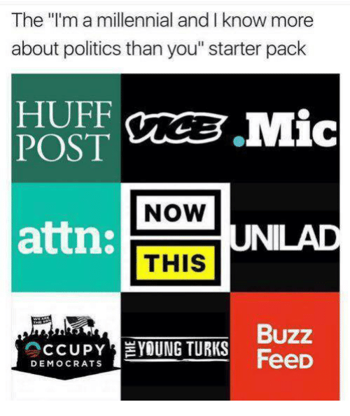 "Memes, Politics, and Huff: The l'm a millennial and I know more  about politics than you"" starter pack  HUFF  NOW  attn:  UNILAD  THIS  Buzz  CCUPYEYOUNG TURKS FeeD  DEMOCRATS"