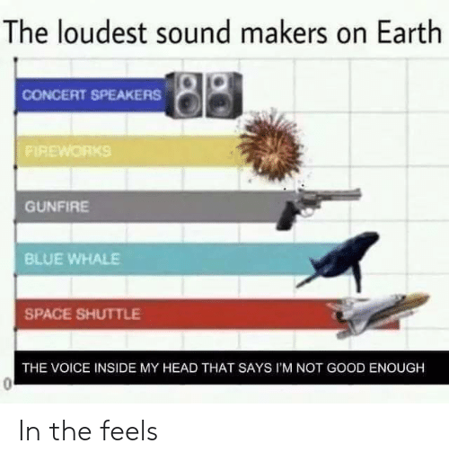 Head, The Voice, and Blue: The loudest sound makers on Earth  CONCERT SPEAKERS  FIREWORKS  GUNFİRE  BLUE WHALE  SPACE SHUTTLE  THE VOICE INSIDE MY HEAD THAT SAYS I'M NOT GOOD ENOUGH In the feels