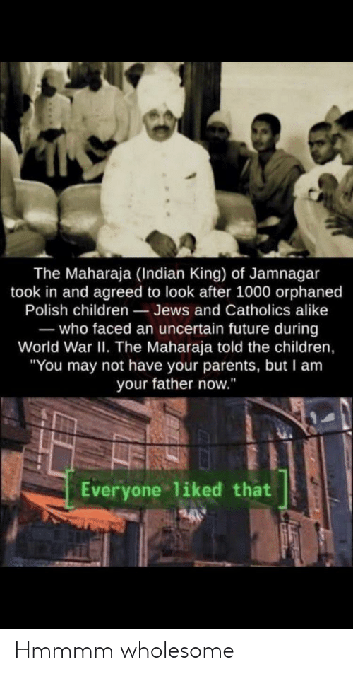 "polish: The Maharaja (Indian King) of Jamnagar  took in and agreed to look after 1000 orphaned  Polish children Jews and Catholics alike  -who faced an uncertain future during  World War II. The Maharaja told the children,  ""You may not have your parents, but I am  your father now.""  Everyone liked that Hmmmm wholesome"