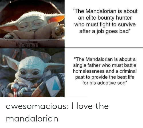 """Bad, Life, and Love: """"The Mandalorian is about  an elite bounty hunter  who must fight to survive  after a job goes bad""""  """"The Mandalorian is about a  single father who must battle  homelessnesss and a criminal  past to provide the best life  for his adoptive son"""" awesomacious:  I love the mandalorian"""