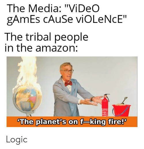 """Amazon, Fire, and Logic: The Media: """"Vi DeO  gAmEs CAUSE viOLeNcE""""  The tribal people  in the amazon:  The planet's on f-king fire! Logic"""