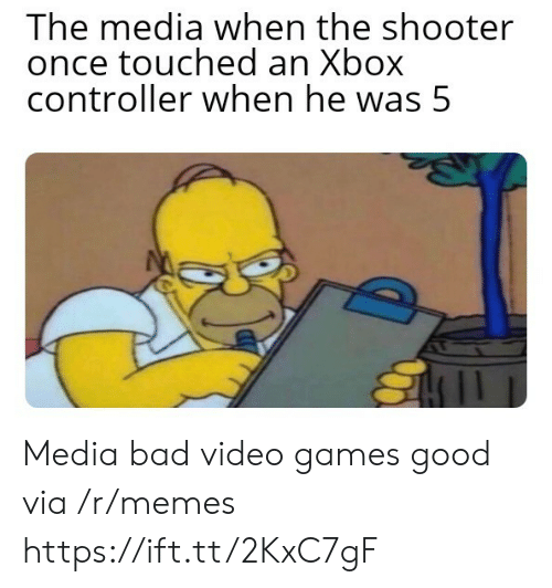 shooter: The media when the shooter  once touched an Xbox  controller when he was 5 Media bad video games good via /r/memes https://ift.tt/2KxC7gF