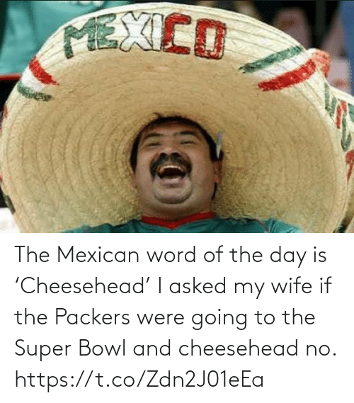 super: The Mexican word of the day is 'Cheesehead'  I asked my wife if the Packers were going to the Super Bowl and cheesehead no. https://t.co/Zdn2J01eEa