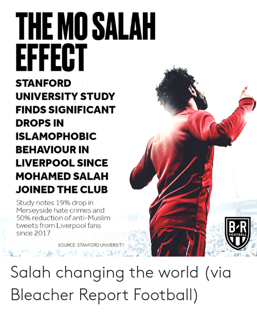 salah: THE MO SALAH  EFFECT  STANFORD  UNIVERSITY STUDY  FINDS SIGNIFICANT  DROPS IN  ISLAMOPHOBIC  BEHAVIOUR IN  LIVERPOOL SINCE  MOHAMED SALAH  JOINED THE CLUB  Study notes 19% drop in  Merseyside hate crimes and  50% reductionof anti-Muslim  tweets from Liverpool fans  B R  since 2017  FOOTBALL  SOURCE: STANFORD UNIVERSITY Salah changing the world  (via Bleacher Report Football)