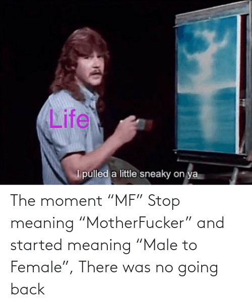 """The Moment: The moment """"MF"""" Stop meaning """"MotherFucker"""" and started meaning """"Male to Female"""", There was no going back"""