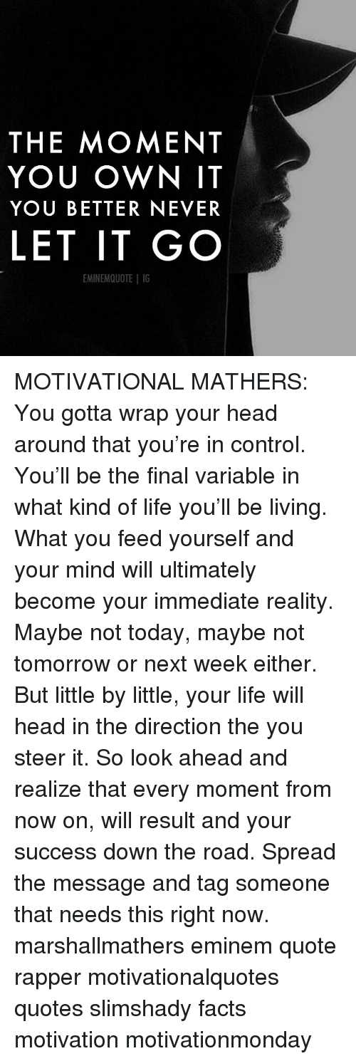 Eminem, Facts, and Head: THE MOMENT  YOU OWN IT  YOU BETTER NEVER  LET IT GO  EMINEMQUOTE IG MOTIVATIONAL MATHERS: You gotta wrap your head around that you're in control. You'll be the final variable in what kind of life you'll be living. What you feed yourself and your mind will ultimately become your immediate reality. Maybe not today, maybe not tomorrow or next week either. But little by little, your life will head in the direction the you steer it. So look ahead and realize that every moment from now on, will result and your success down the road. Spread the message and tag someone that needs this right now. marshallmathers eminem quote rapper motivationalquotes quotes slimshady facts motivation motivationmonday