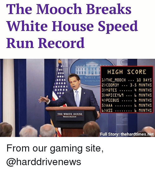 Ass, Memes, and Run: The Mooch Breaks  White House Speed  Run Record  HIGH SCORE  E WHITE H  THE MOOCH 10 DAYS  2) COOM3Y 3.5 MONTHS  3)YaTES ..4 MONTHS  3)$PICEYb... b MONTHS  4)PEEBUS b MONTHS  5)AAA . MONTHS  b)ASS . MONTHS  WASHINGT  THE WHITE HOUSE  WASHINGTON  Full Story: thehardtimes.net From our gaming site, @harddrivenews